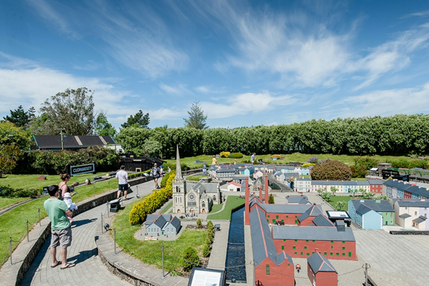 A picture of the model railway village.