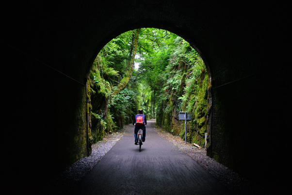 An image of a man cycling through a tunnel.