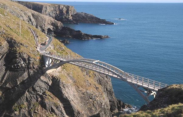 A picture of Mizen Head bridge overlooking the ocean.